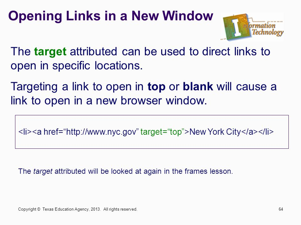 Opening Links in a New Window