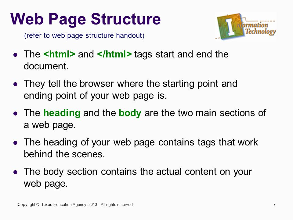 (refer to web page structure handout)