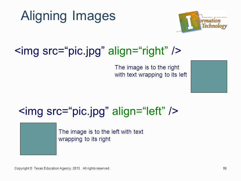Aligning Images <img src= pic.jpg align= right />