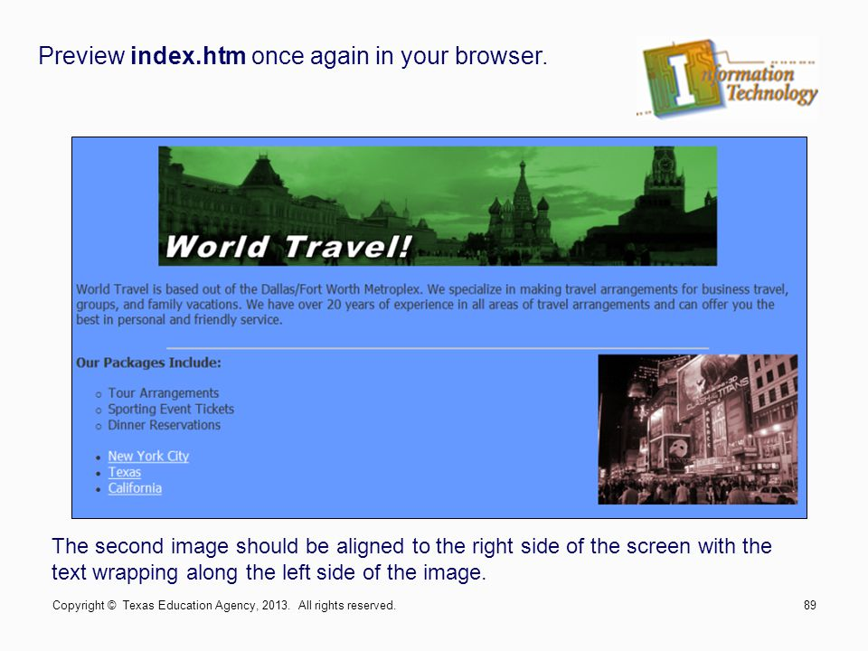 Preview index.htm once again in your browser.