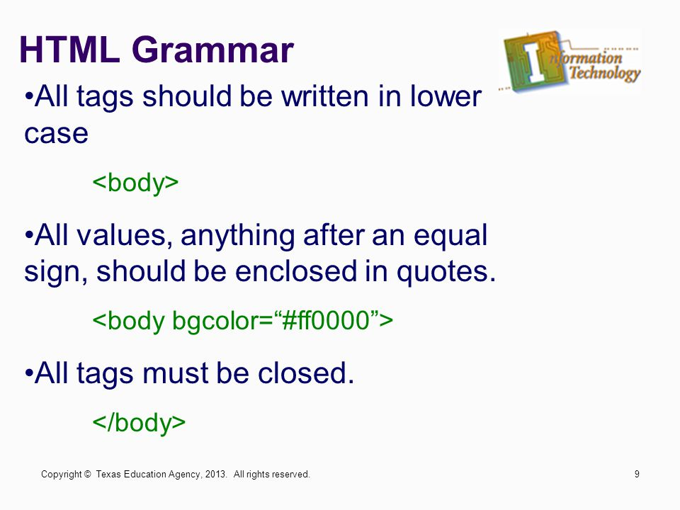 HTML Grammar All tags should be written in lower case