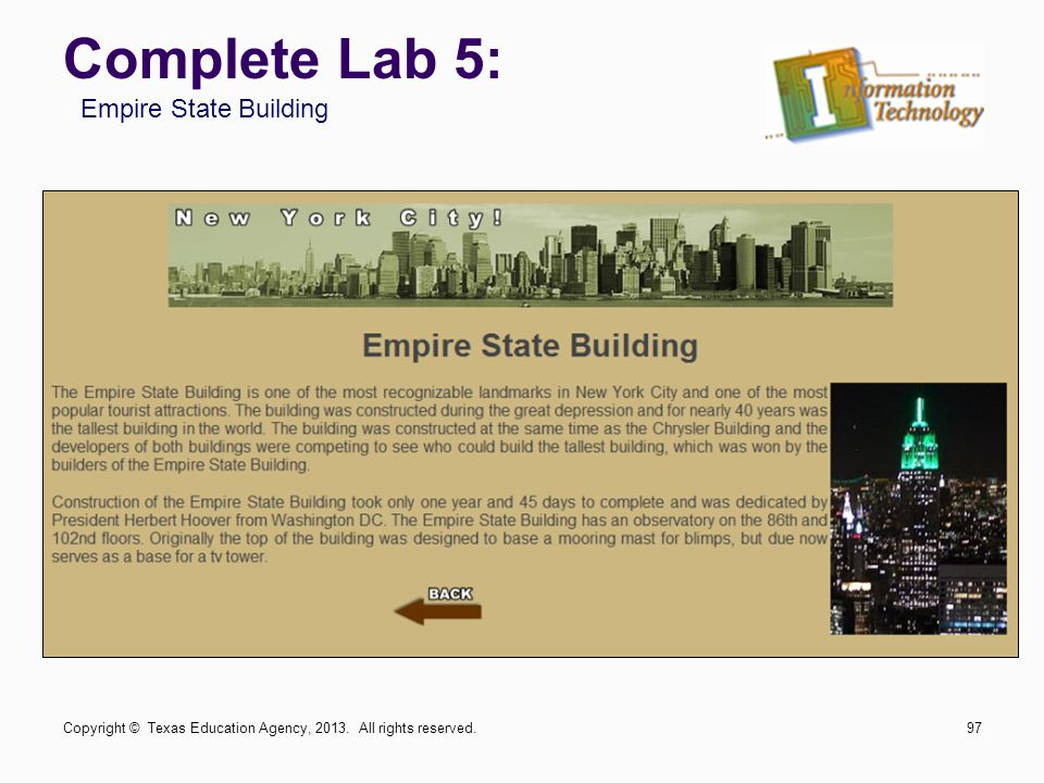 Complete Lab 5: Empire State Building