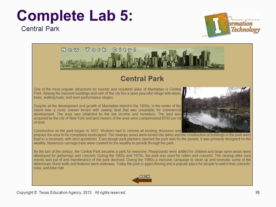Complete Lab 5: Central Park