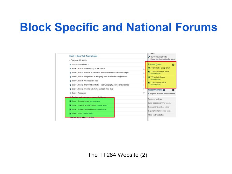Block Specific and National Forums