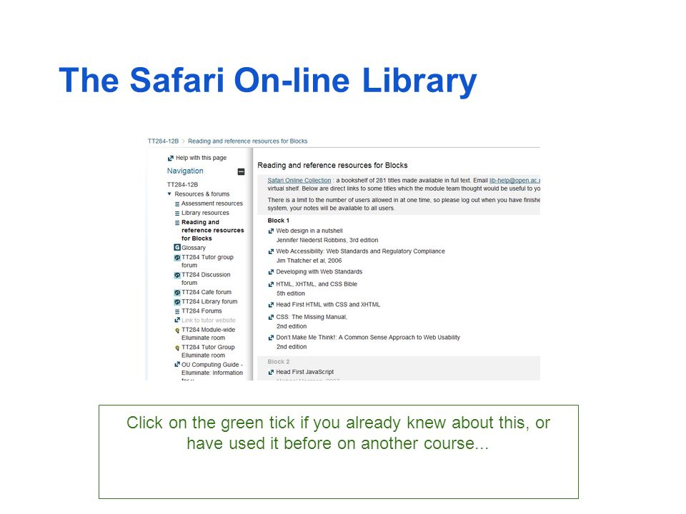 The Safari On-line Library