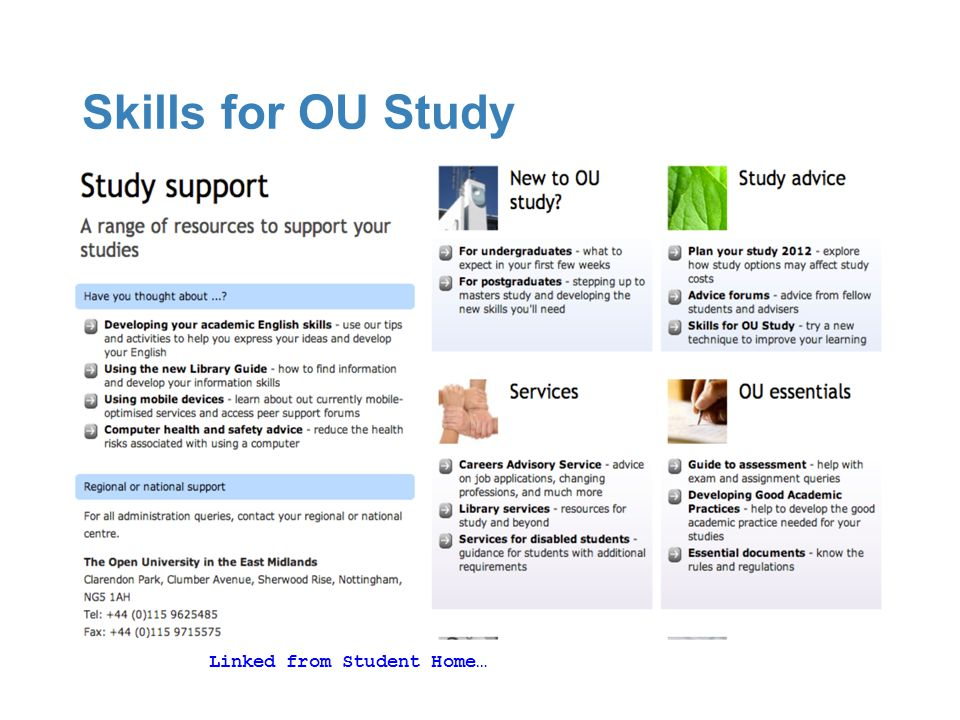 Skills for OU Study Linked from Student Home…