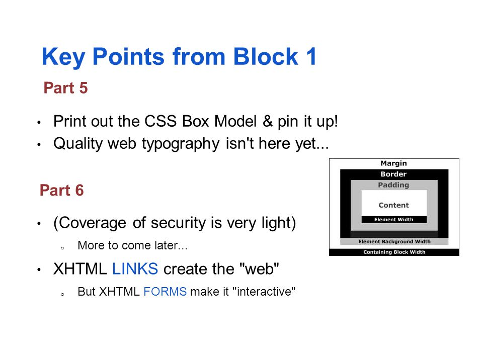 Key Points from Block 1 Part 5
