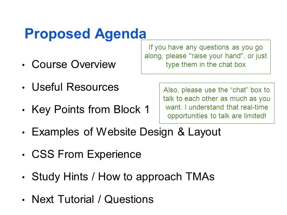 Proposed Agenda Course Overview Useful Resources