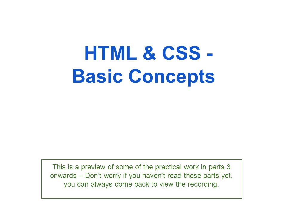 HTML & CSS - Basic Concepts