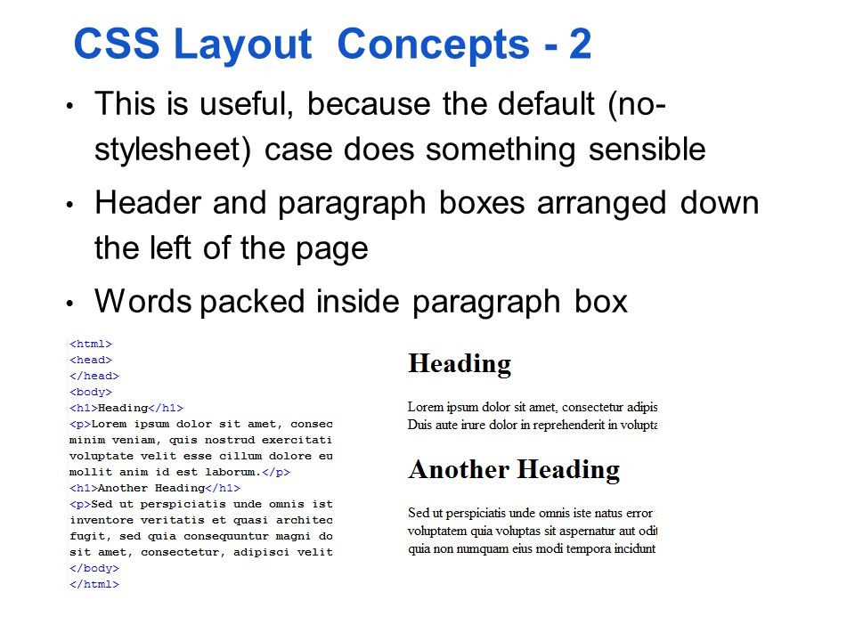 CSS Layout Concepts - 2 This is useful, because the default (no- stylesheet) case does something sensible.