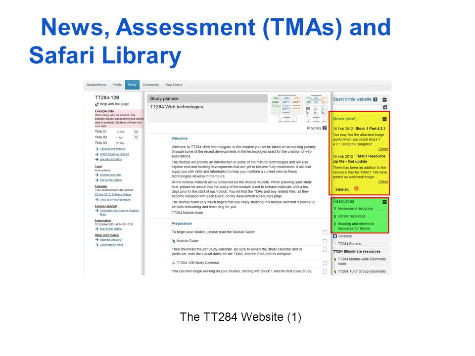 News, Assessment (TMAs) and Safari Library