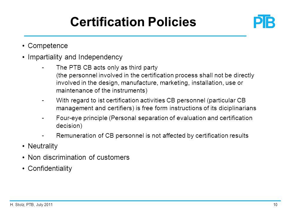 Certification Policies