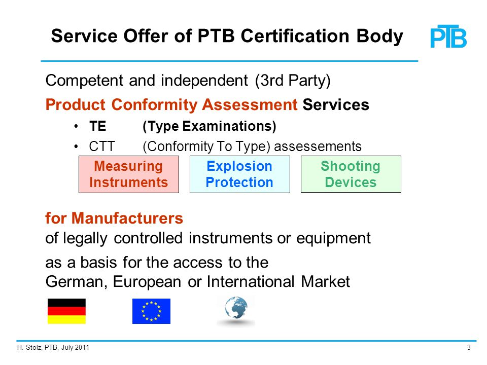 Service Offer of PTB Certification Body