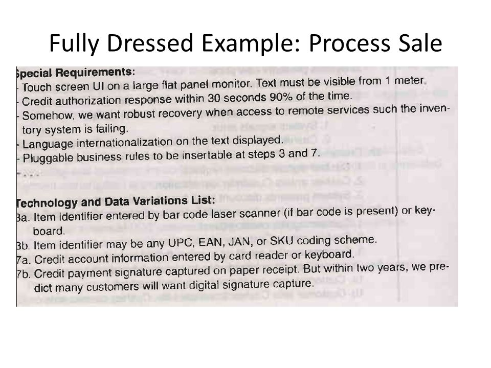 Fully Dressed Example: Process Sale