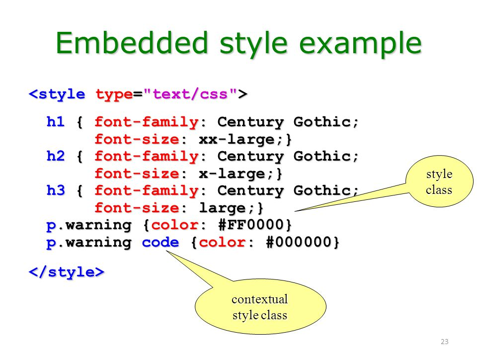 Embedded style example