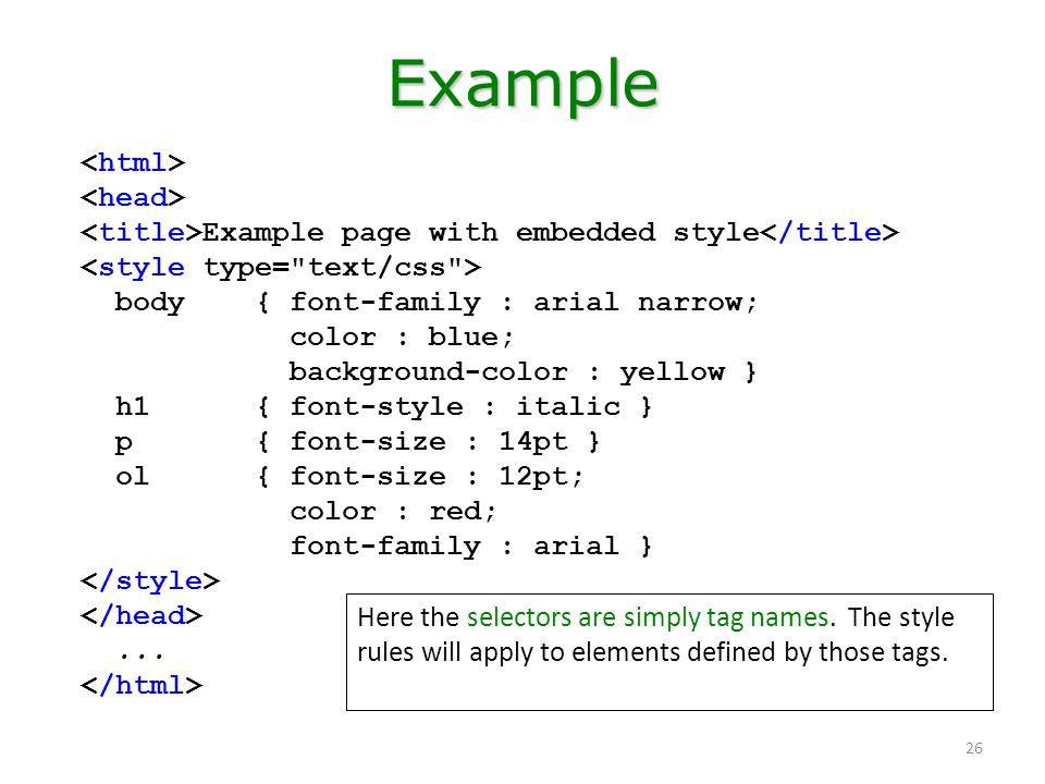 Example <html> <head>