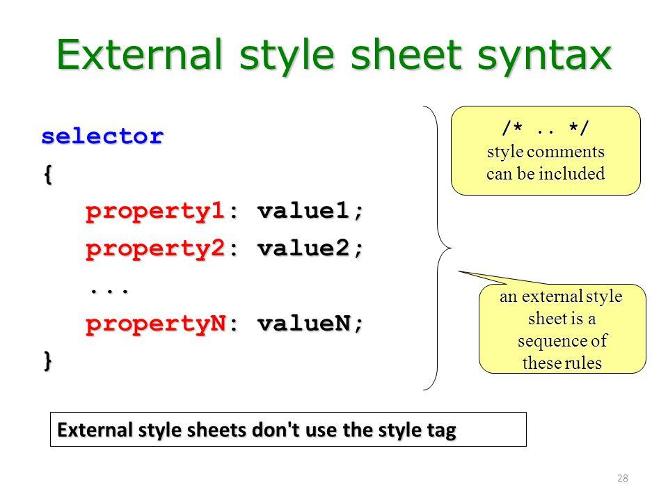 External style sheet syntax
