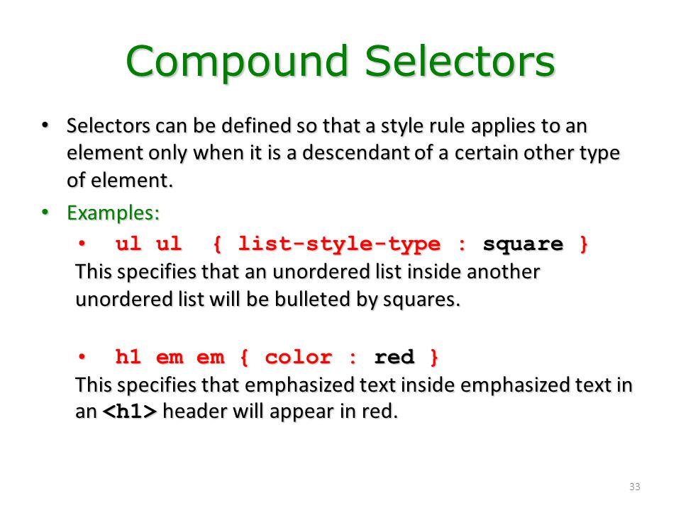 Compound Selectors