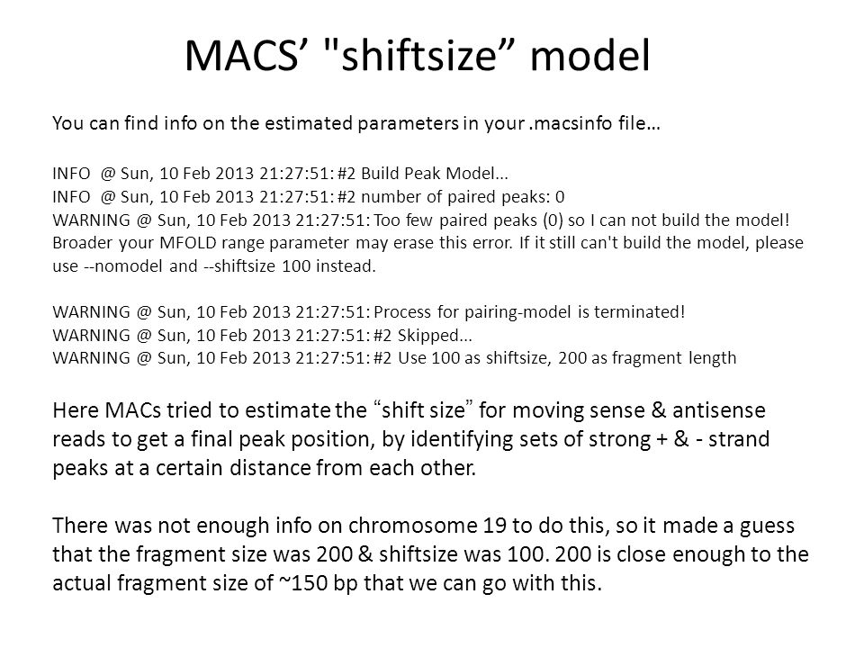 MACS' shiftsize model