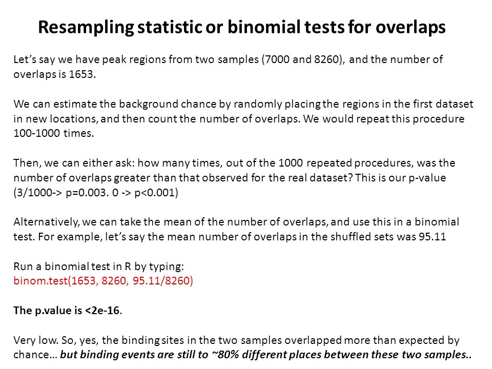 Resampling statistic or binomial tests for overlaps