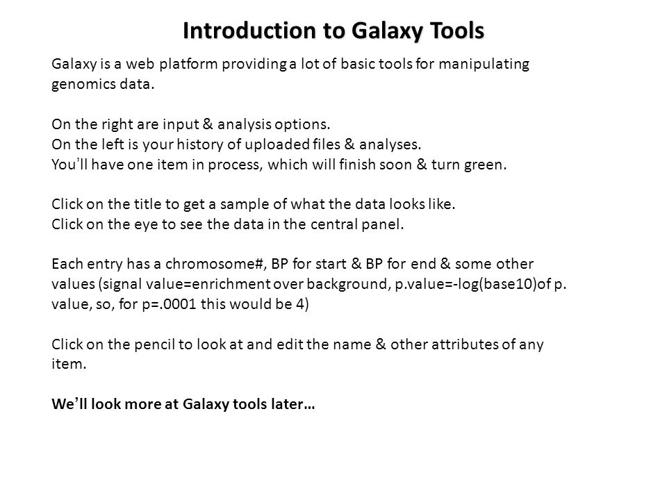 Introduction to Galaxy Tools