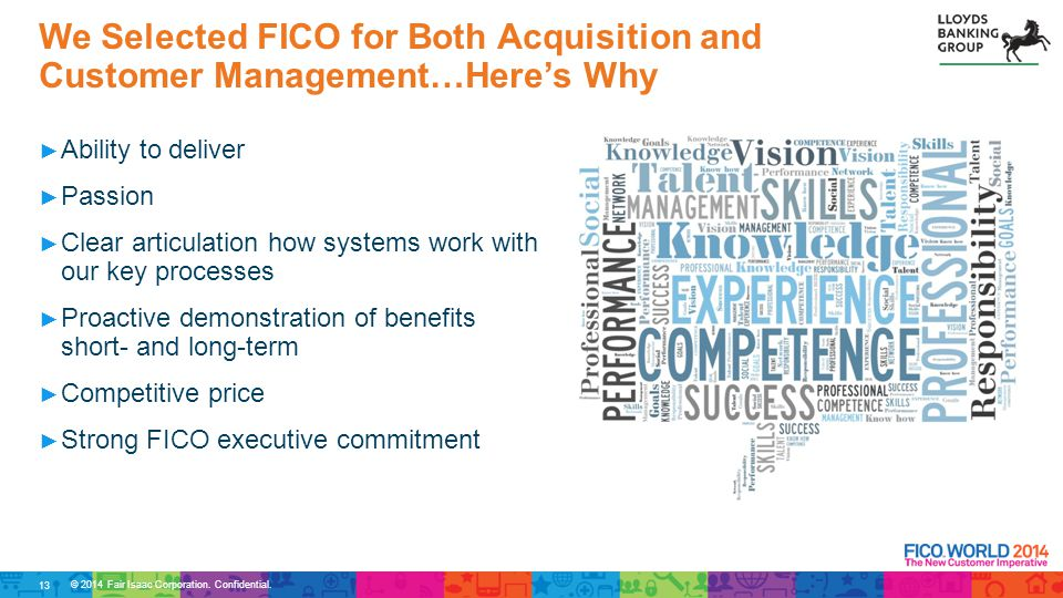 We Selected FICO for Both Acquisition and Customer Management…Here's Why