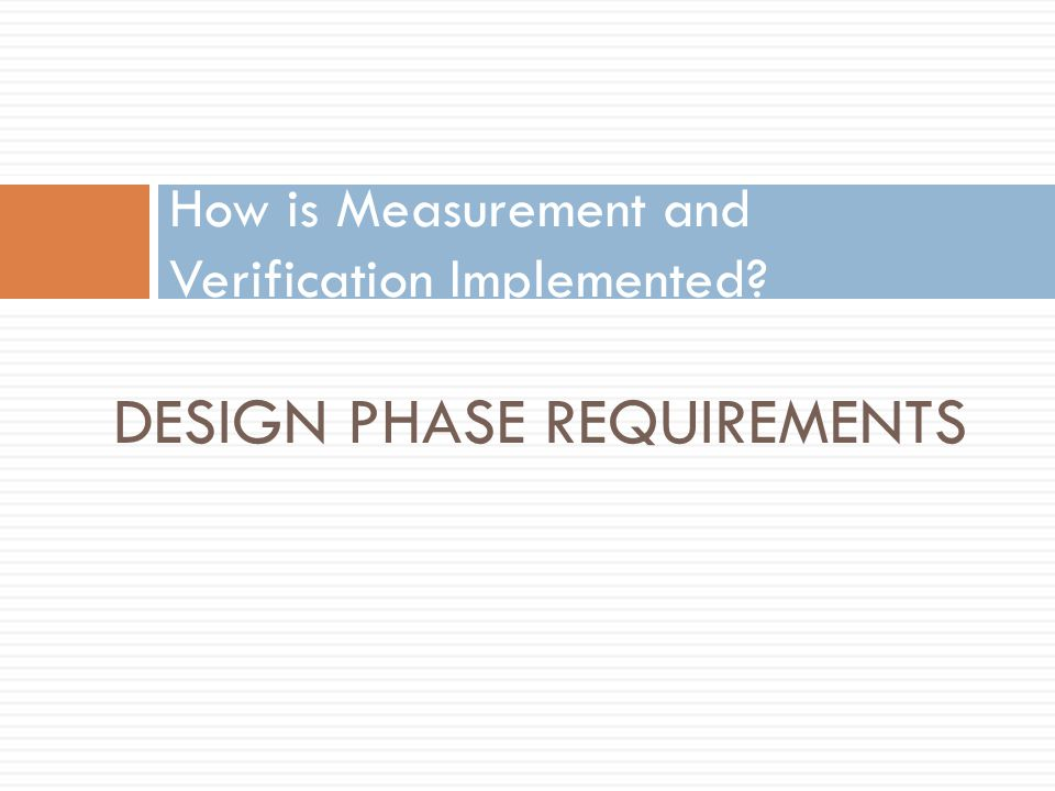 How is Measurement and Verification Implemented
