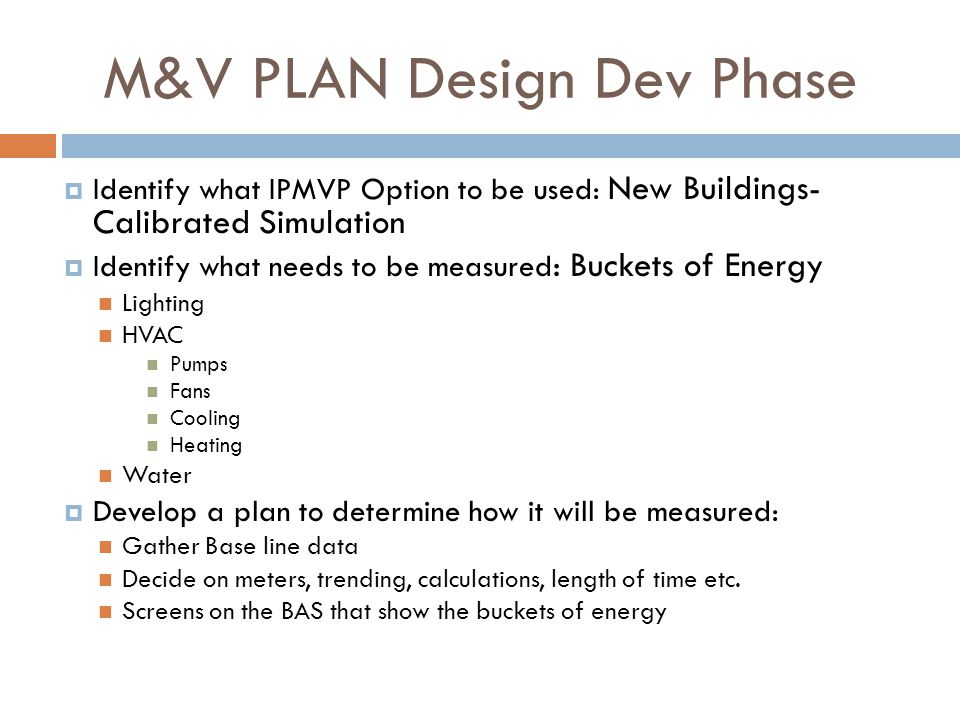 M&V PLAN Design Dev Phase