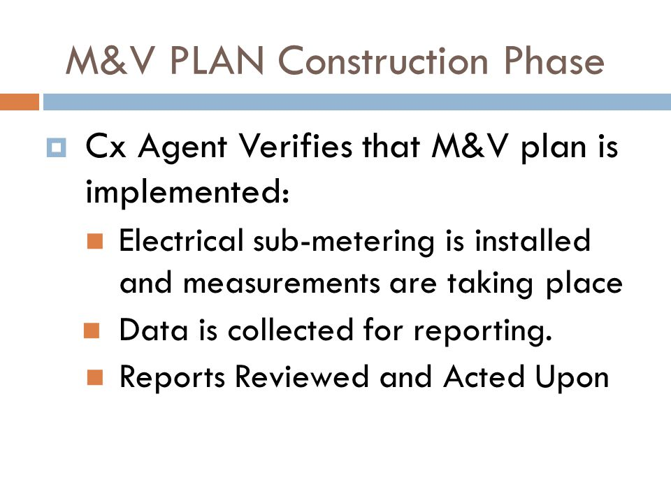 M&V PLAN Construction Phase