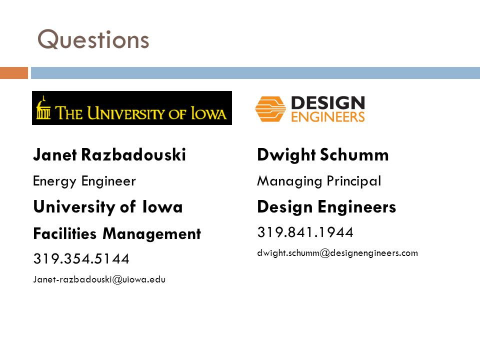 Questions Janet Razbadouski University of Iowa Dwight Schumm
