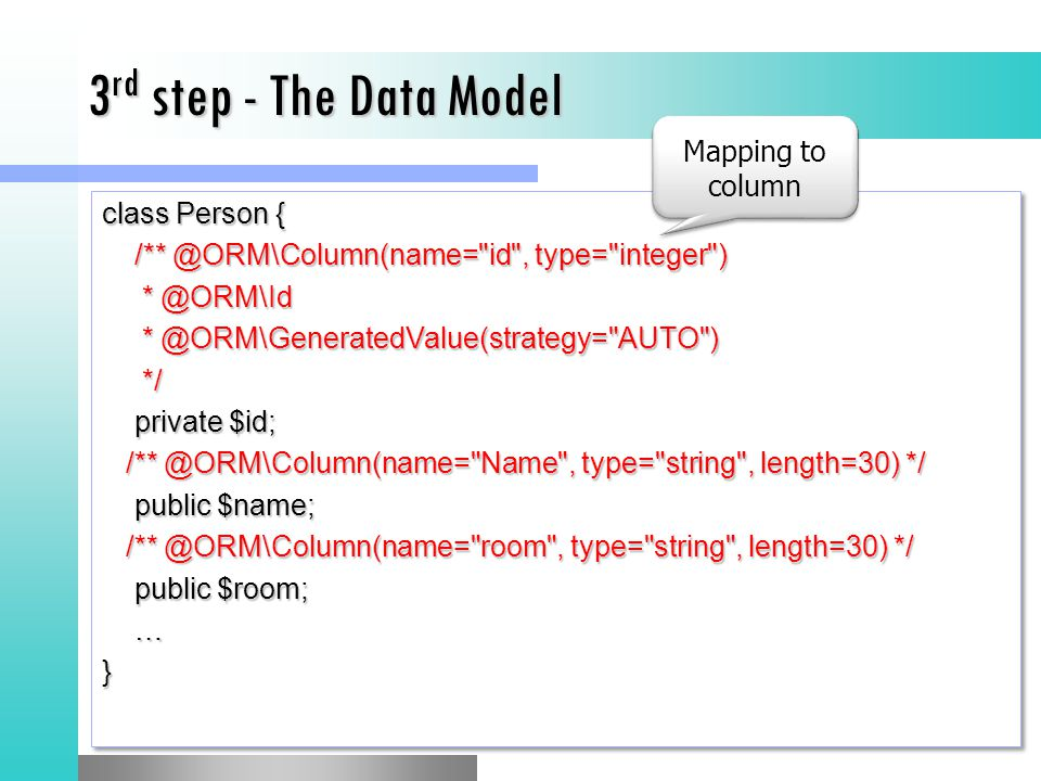 3rd step - The Data Model Mapping to column