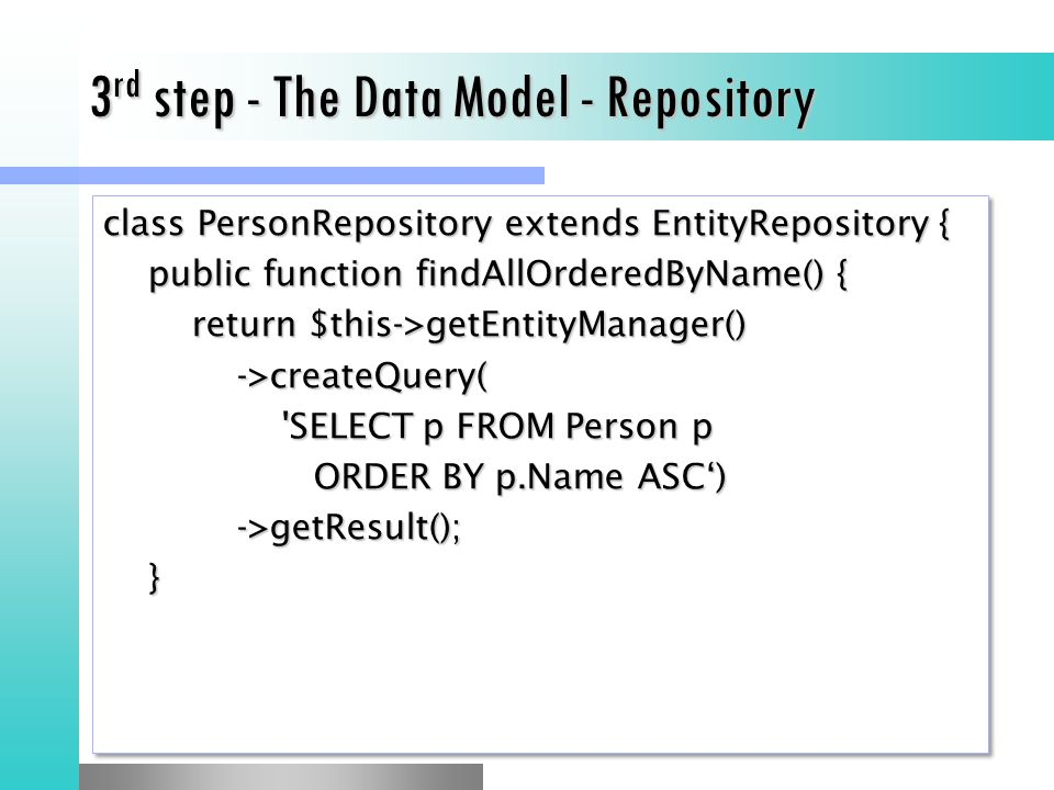 3rd step - The Data Model - Repository