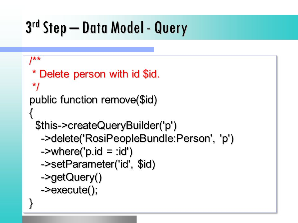 3rd Step – Data Model - Query