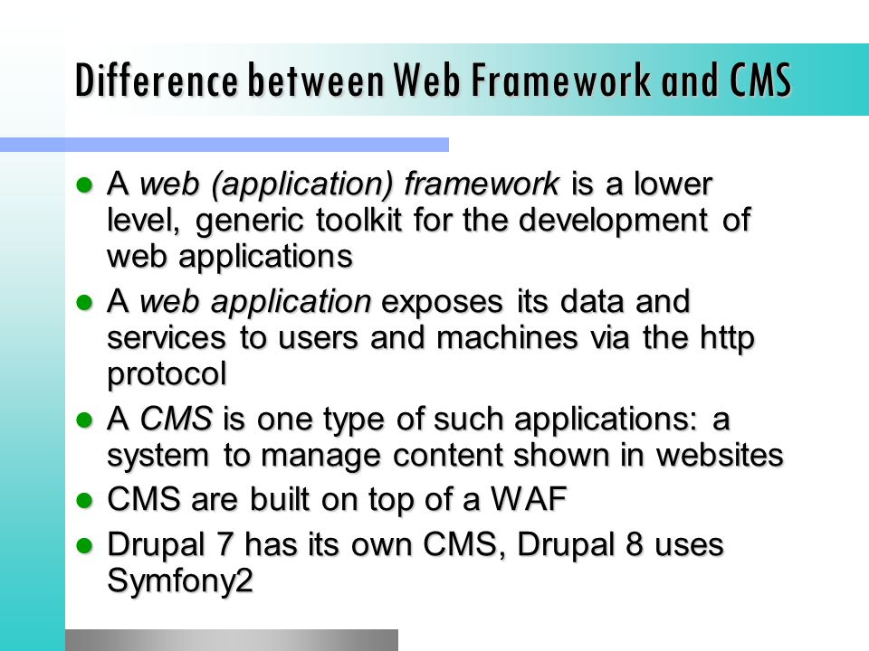 Difference between Web Framework and CMS