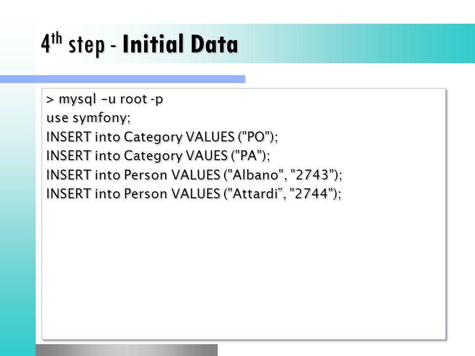 4th step - Initial Data