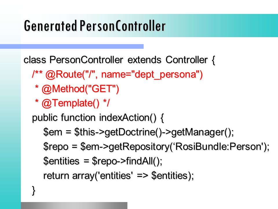 Generated PersonController