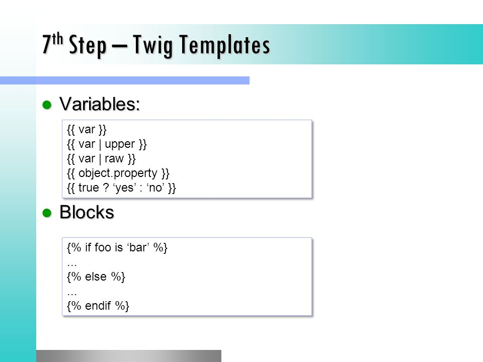 7th Step – Twig Templates