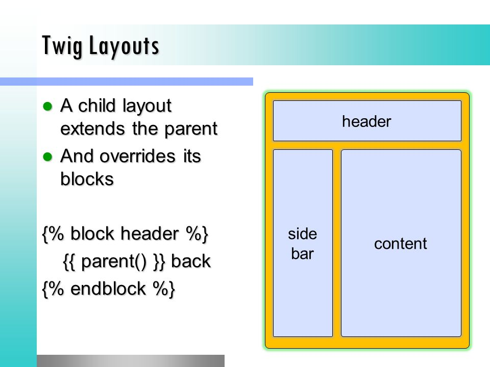 Twig Layouts A child layout extends the parent