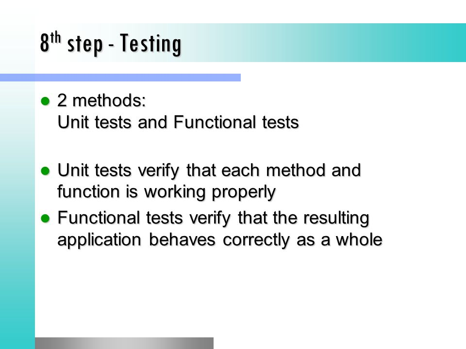 8th step - Testing 2 methods: Unit tests and Functional tests