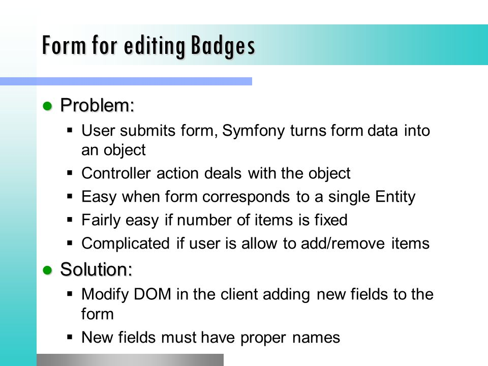 Form for editing Badges