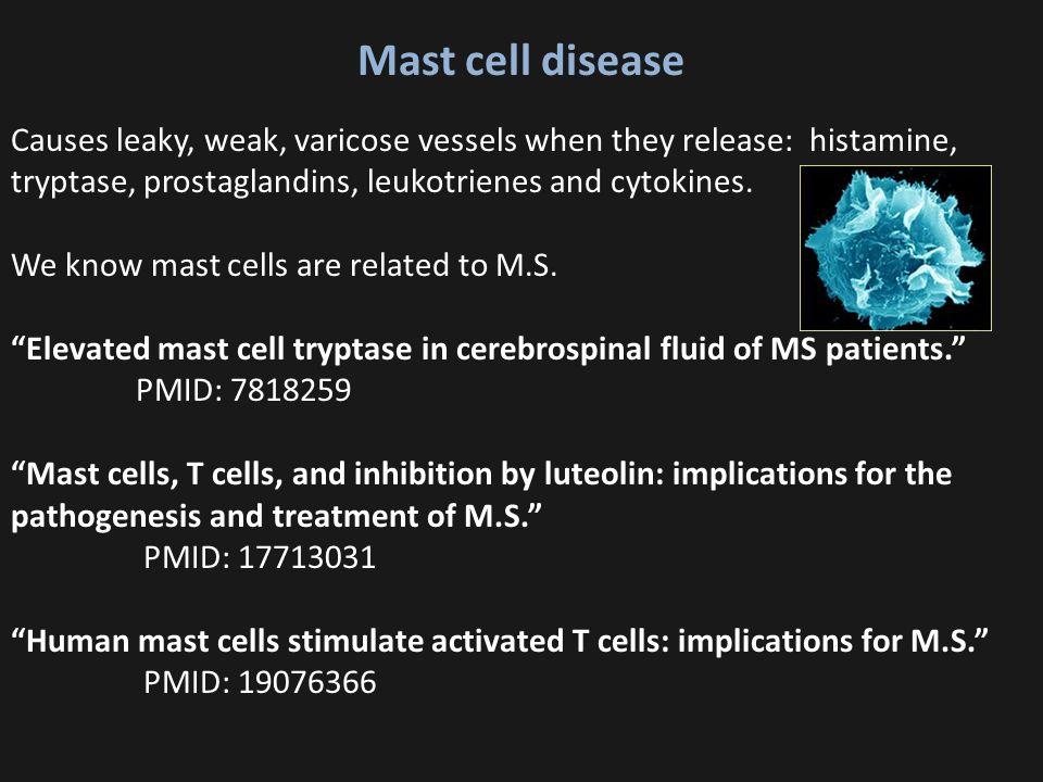 Mast cell disease Causes leaky, weak, varicose vessels when they release: histamine, tryptase, prostaglandins, leukotrienes and cytokines.