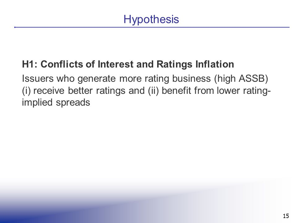 Hypothesis H1: Conflicts of Interest and Ratings Inflation