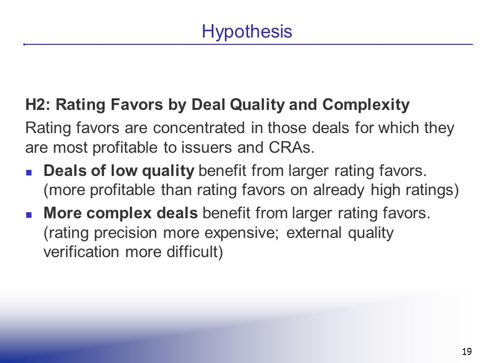 Hypothesis H2: Rating Favors by Deal Quality and Complexity