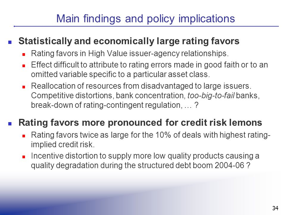 Main findings and policy implications