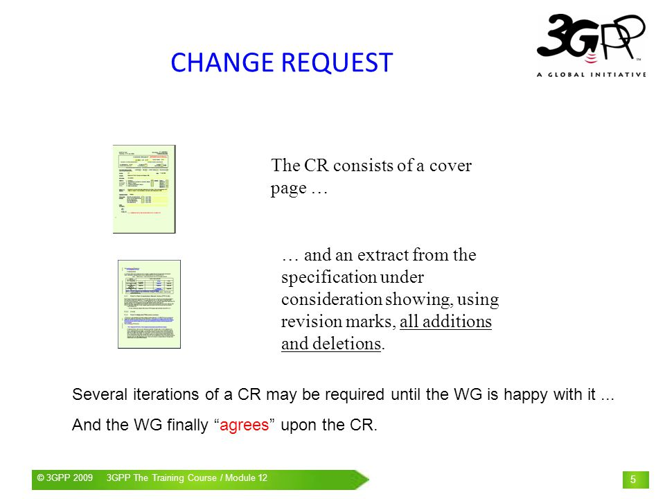 CHANGE REQUEST The CR consists of a cover page …