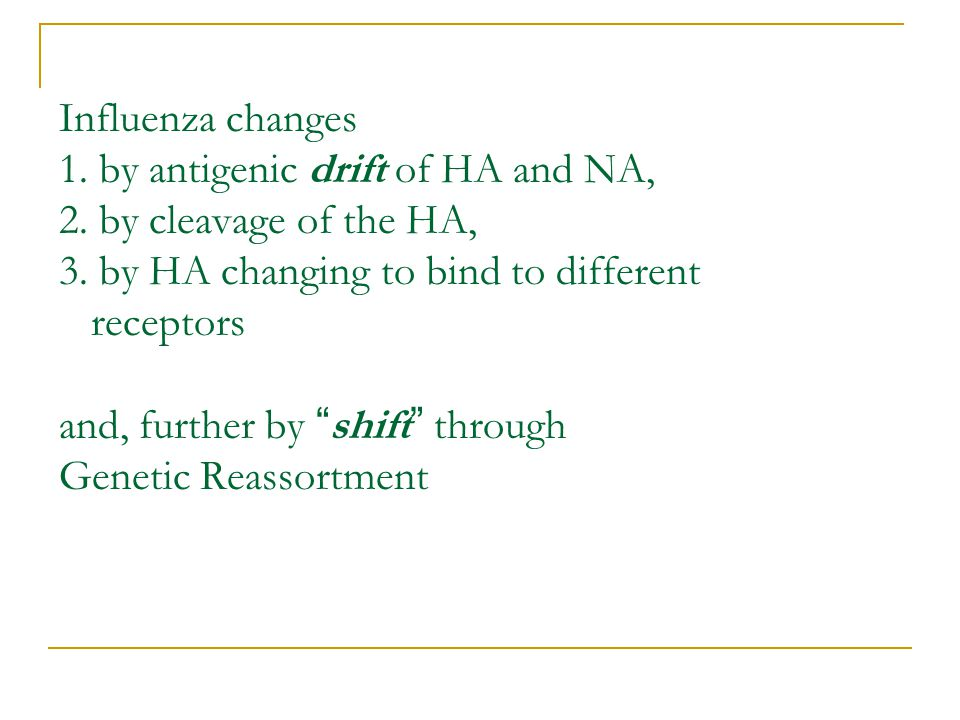 Influenza changes 1. by antigenic drift of HA and NA, 2