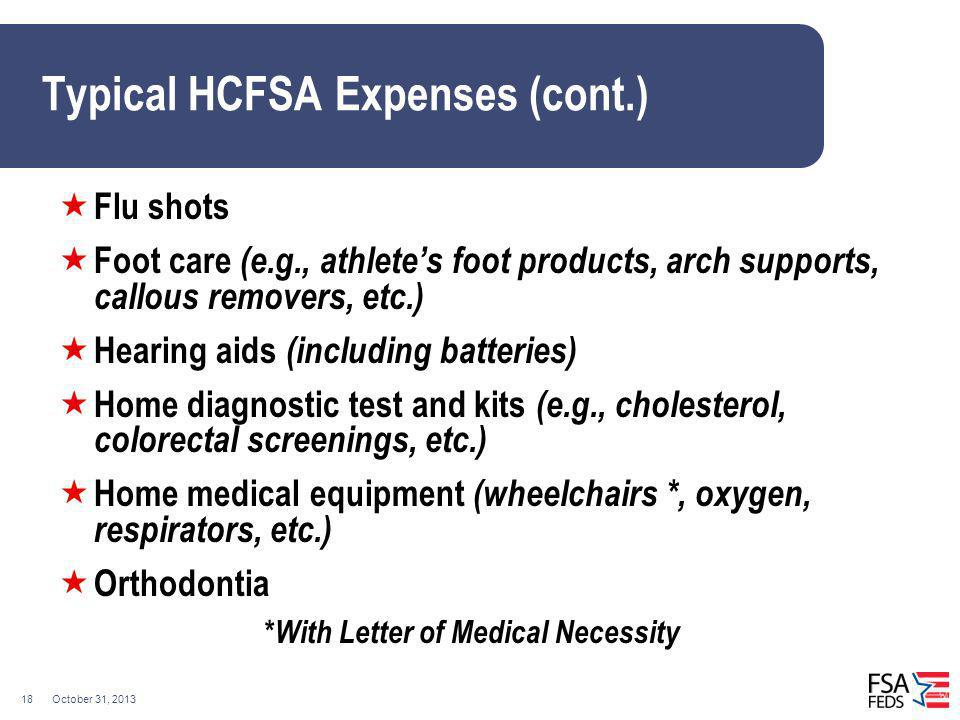 Typical HCFSA Expenses (cont.)