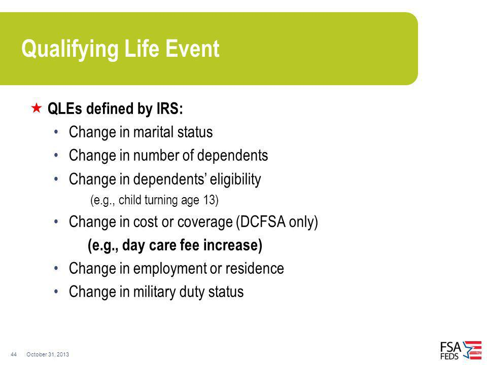 Qualifying Life Event QLEs defined by IRS: Change in marital status