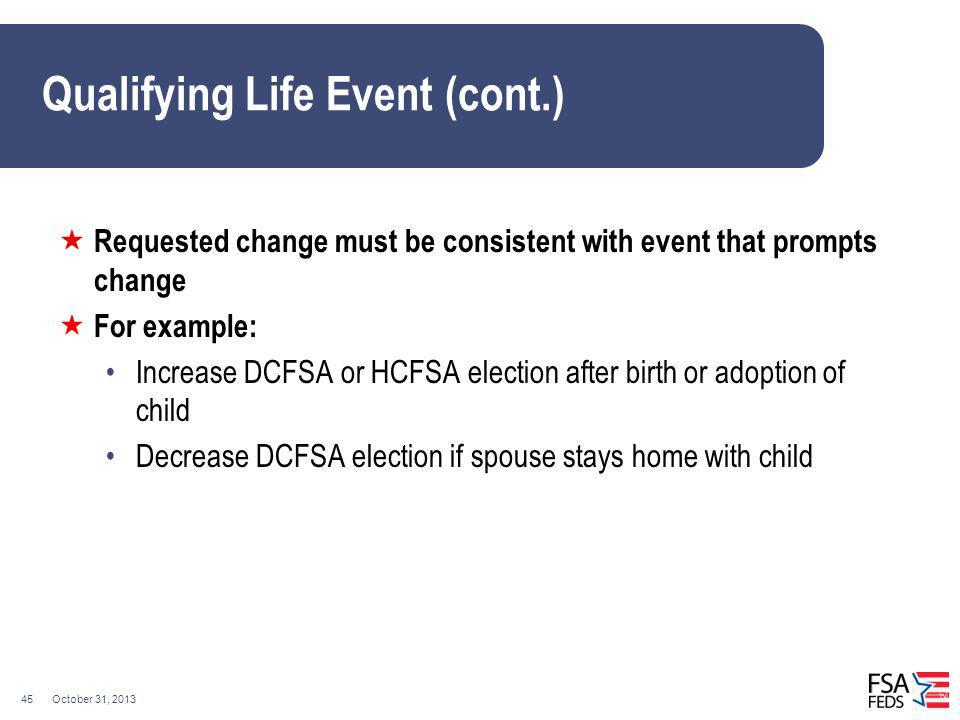 Qualifying Life Event (cont.)