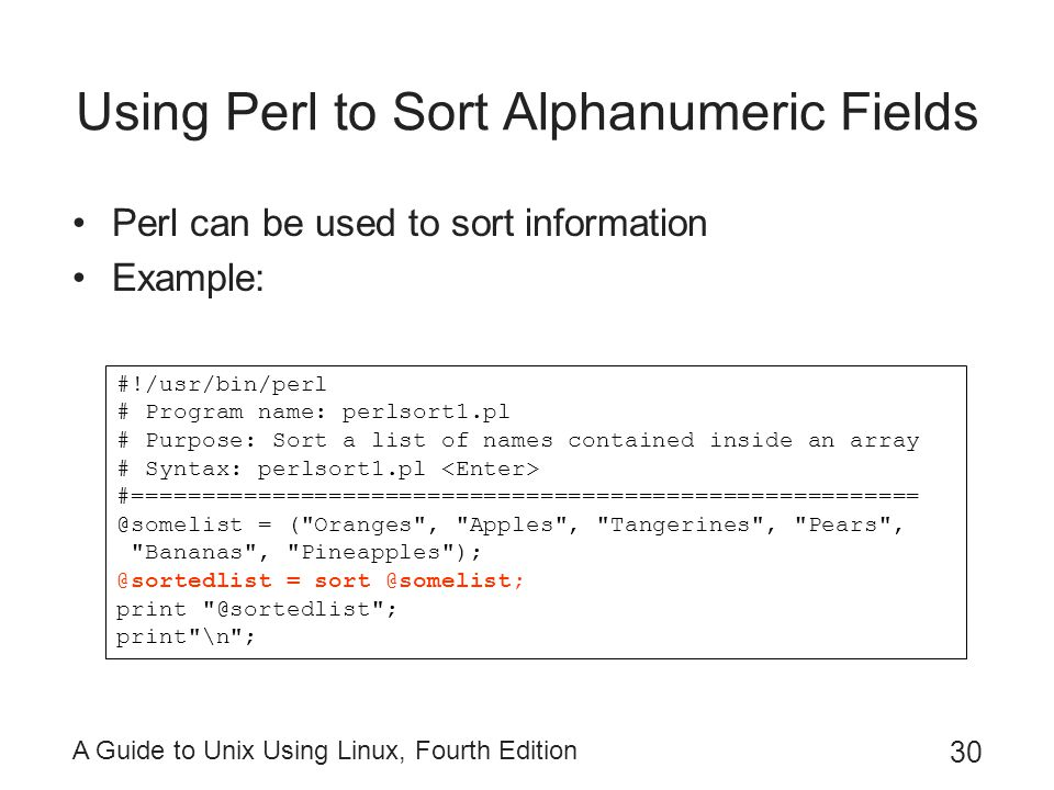 Using Perl to Sort Alphanumeric Fields